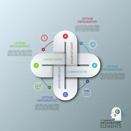 Creative infographic design template with 4 multicolored chain links connected together, thin line icons and text boxes. Four qualities of business project concept. Vector illustration for brochure.