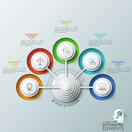Five circular elements arranged in semicircle and connected with center, thin line icons and text boxes. Concept of 5 steps to profit growth. Creative infographic design layout. Vector illustration. 版權商用圖片 - 102308204