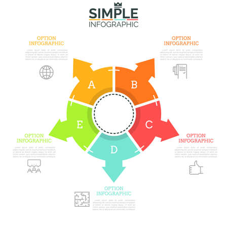 Ring-like diagram divided into 5 equal sectors with arrows pointing at thin line icons and text boxes. Concept of five directions to choose. Minimal infographic design layout. Vector illustration. Illustration