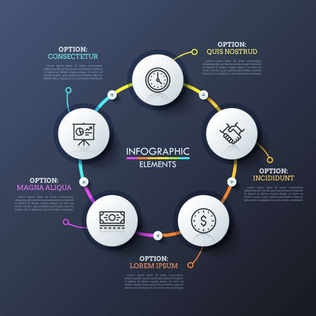 Round flowchart with 5 white circular elements connected by multicolored lines and play buttons. Unique infographic design template. Successive steps of deal making concept. Vector illustration. Vettoriali