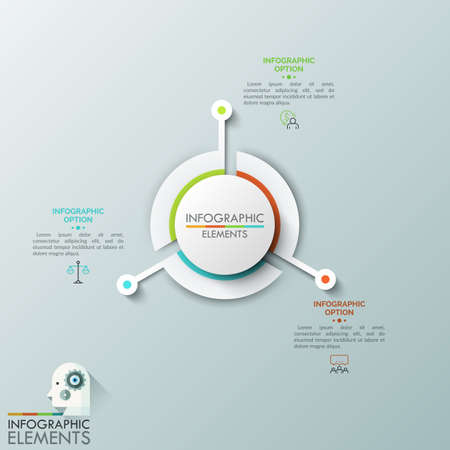 Round chart divided into 3 sectors with long projecting parts, thin line pictograms and text boxes. Three main features of business development process. Vector illustration for presentation, report.