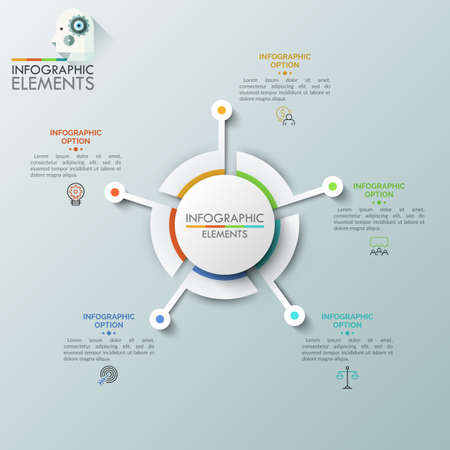 Realistic round diagram consisted of 5 sectoral parts connected with linear symbols and text boxes. Futuristic element for website interface, concept of navigation tool. Vector illustration for app.