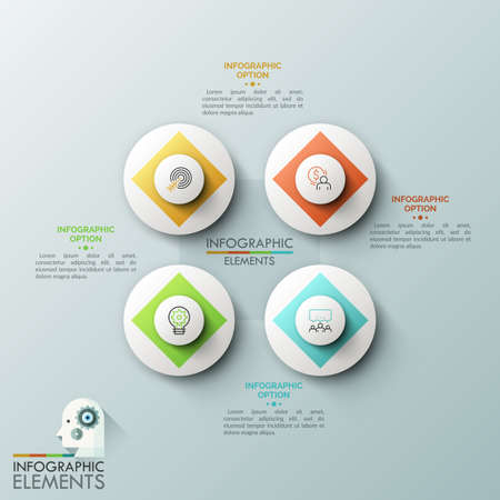 Four white circular elements with thin line pictograms inside surrounded by text boxes. Elements of web application interface, 4 round buttons. Vector illustration for website, app, presentation.