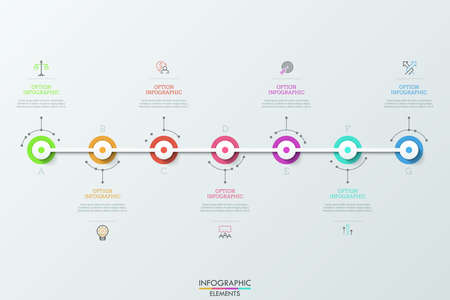 Seven multicolored round elements connected by white horizontal line, linear pictograms and text boxes. Concept of 7 daily achievements. Futuristic infographic design layout. Vector illustration. Illustration