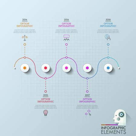 Cinco círculos organizados en línea horizontal y conectados con iconos, cuadros de texto e indicación de año. Concepto de 5 hitos del desarrollo de la empresa. Disposición de diseño infográfico. Ilustración de vector.
