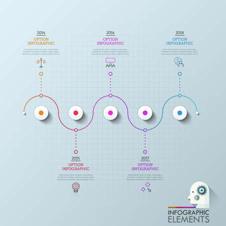 Five circles organized into horizontal line and connected with icons, text boxes and year indication. Concept of 5 milestones of company development. Infographic design layout. Vector illustration.