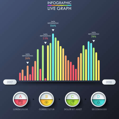 Bar graph, multicolored columns placed on horizontal axis with year indication, thin line symbols, percentage. Infographic design template. Vector illustration for statistical report, presentation. Stockfoto - 102308553