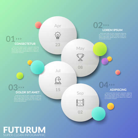 Vertical timeline. Four separate staggered round elements with thin line pictograms and date indication inside. Concept of daily planner. Futuristic infographic design template. Vector illustration. Illustration