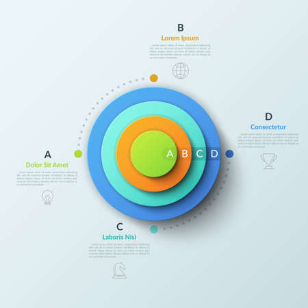 Circular chart with four round elements placed one inside other, thin line symbols and lettered text boxes. Concept of 4 features of business process. Infographic design layout. Vector illustration.