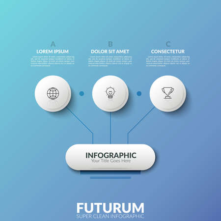 Flow chart. Main element connected by lines with 3 linear icons placed inside circles and lettered text boxes. Concept of strategic scheme. Futuristic infographic design template. Vector illustration. Ilustrace