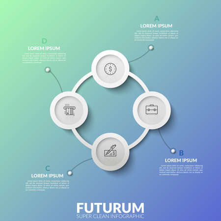 Round chart with 4 white circular connected elements, thin line symbols and text boxes. Visualization of four stepped cyclical process. Unusual infographic design template. Vector illustration.