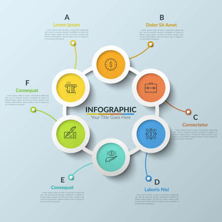 Circular chart with 6 multicolored round interconnected elements, thin line pictograms and text boxes. Six stages of development process. Clean infographic design template. Vector illustration.