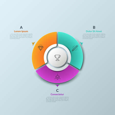Circular chart divided into 3 sectors and round element in center, thin line icons and arrows. Three features of successful business development. Infographic design template. Vector illustration.