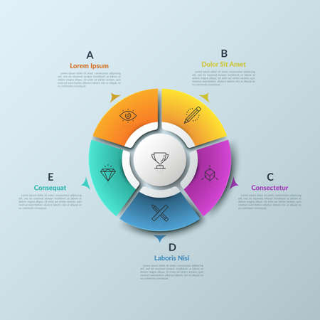 Round diagram divided into 5 colorful pieces and circular element in center, thin line icons and arrows pointing at text boxes. Web navigation tool. Infographic design layout. Vector illustration. Illustration