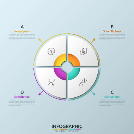 Paper white circular pie chart divided into 4 equal sectors with round hole in center, thin line pictograms and text boxes placed around it. Clean infographic design template. Vector illustration.