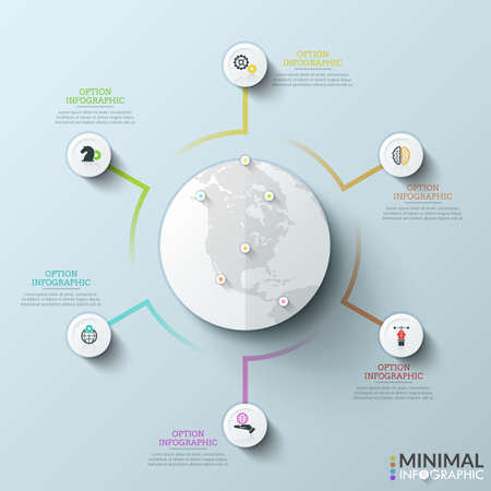 Earth with location pins surrounded by 6 circular elements with icons inside connected by colorful lines. Concept of world market development. Simple infographic design layout. Vector illustration. Illustration