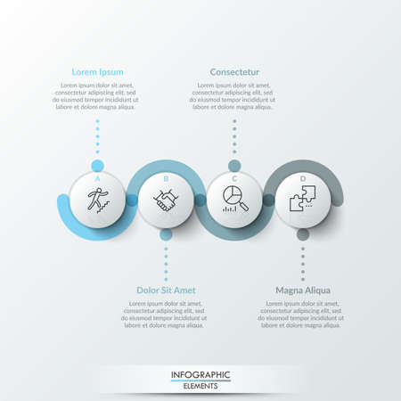 Four round paper white elements with linear symbols inside, translucent line curving around it and text boxes. Concept of 4 steps to business growth. Infographic design template. Vector illustration.