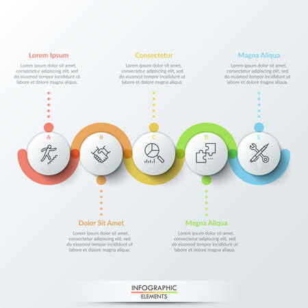 Five circular paper white elements with thin line icons inside, colorful translucent stripe curving around it and text boxes. Realistic infographic design template. Modern vector illustration.