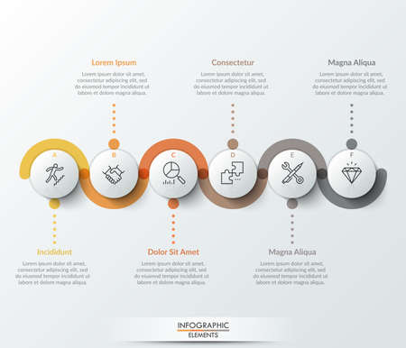 Six circular paper white elements with thin line icons inside, colorful translucent stripe curving around it and text boxes. Realistic infographic design template. Modern vector illustration. Ilustração