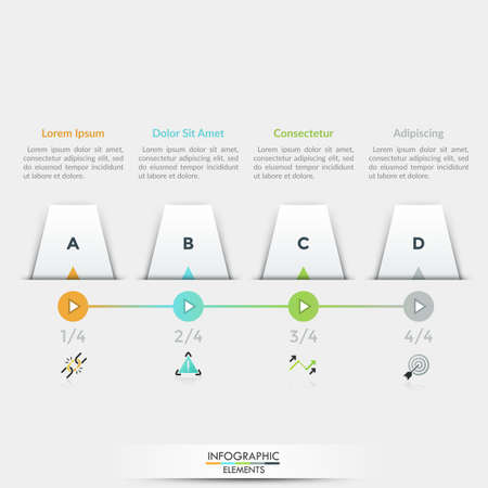 Four white quadrilateral elements with letters inside placed into horizontal row, 4 play buttons connected by line, linear icons and text boxes. Infographic design template. Vector illustration.