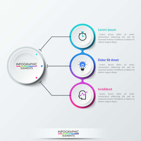 Three paper white circular elements with thin line symbols inside connected with main circle, 3 options of business process. Realistic infographic design layout. Vector illustration for brochure.
