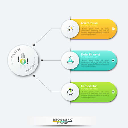 Three multicolored rounded rectangles connected with central round element by lines. Tree diagram with 3 dependent options. Modern infographic design layout. Vector illustration for web presentation.