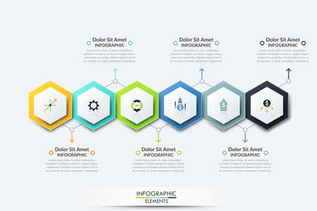 Six colorful realistic hexagonal elements with thin line icons inside placed into horizontal row and text boxes. Creative infographic design template. Vector illustration for presentation, brochure.