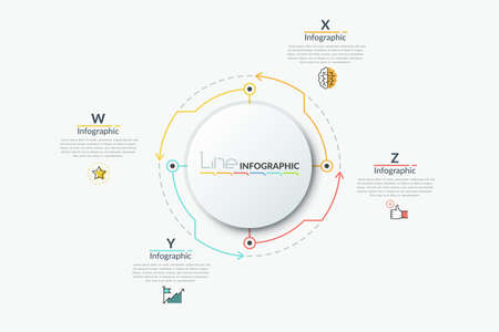 Round paper white chart with 4 colorful arrows pointing at thin line symbols and text boxes. Concept of four features of provided service. Modern infographic design template. Vector illustration.
