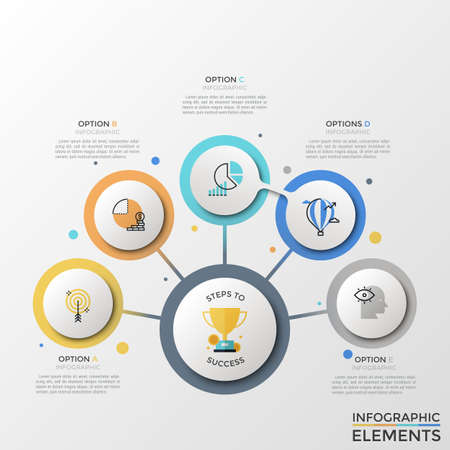 Flowchart with main round element connected to 5 circles with linear icons inside, text boxes. Concept of five steps to success. Creative infographic design template. Colorful vector illustration.