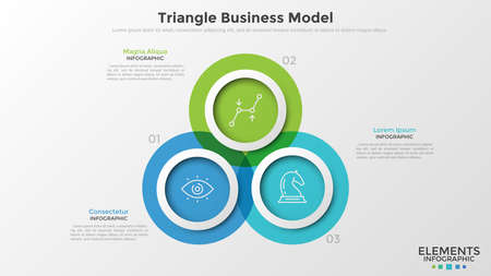 Three colorful translucent overlapping circles with thin line pictograms inside and text boxes. Concept of triangle business model with 3 options. Infographic design template. Vector illustration. Stock Photo