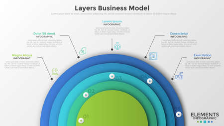 Five colorful semi-circular elements connected to thin line icons and text boxes. Concept of layers business model. Modern infographic design template. Vector illustration for presentation, brochure.