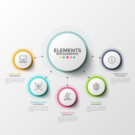 Five paper white circles with thin line symbols inside connected to main round element. Concept of 5 characteristics of provided service. Modern infographic design template. Vector illustration.