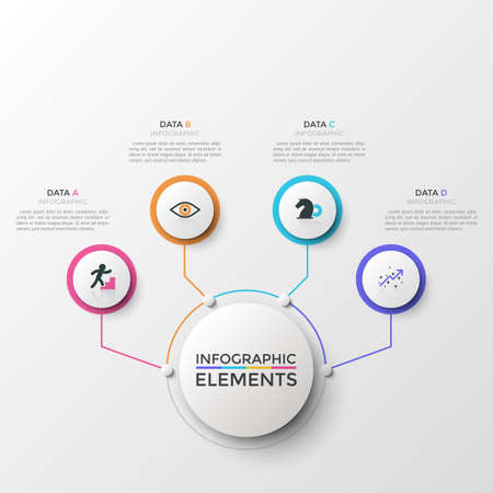 Four white round elements with colorful frames and thin line symbols inside connected to central circle. Concept of 4 business options to choose. Infographic design template. Vector illustration.