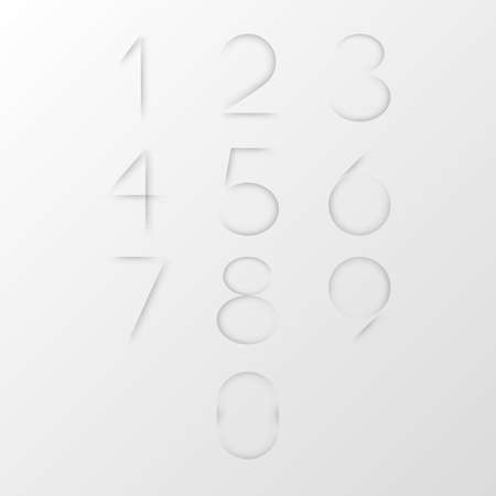 Collection of figures cut on clear white paper. Creative bundle of slits in shape of numeral symbols on blank sheet. Set of numbers. Modern monochrome design elements. Minimal vector illustration.