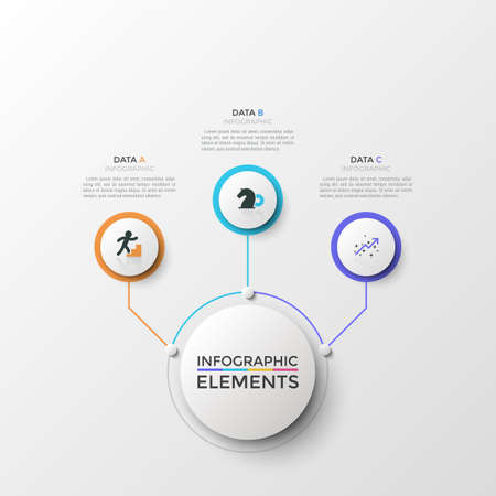 Round diagram or flowchart with 3 linear icons inside circular elements connected to main white circle by lines, text boxes. Modern infographic design template. Vector illustration for presentation.