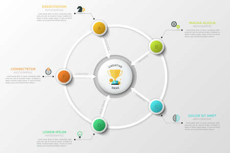 Circular chart. Colorful lettered circles connected with central round element by arrows. Concept of 5 features of success. Infographic design template. Vector illustration for brochure, presentation. Stock Photo