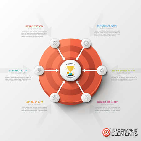 Shooting target, 6 paper white round with thin line icons inside and arrows pointing at main element in center. Unusual infographic design template. Vector illustration for presentation, brochure. Stock fotó