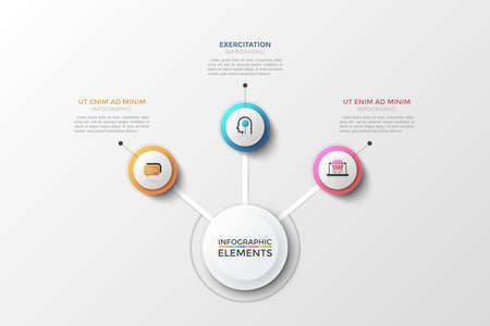 Flowchart with large white round element connected with 3 multicolored circles, thin line symbols and text boxes. Concept of three features of business process. Creative vector illustration.
