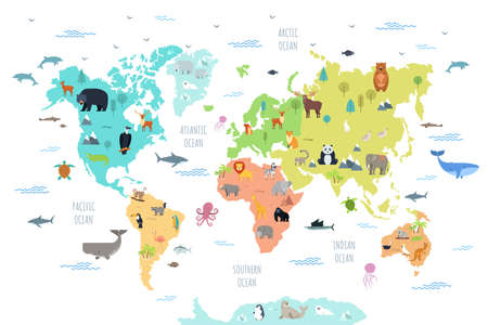 World map with wild animals living on various continents and in oceans. Cute cartoon mammals, reptiles, birds, fish inhabiting planet. Flat colorful vector illustration for educational poster, banner.