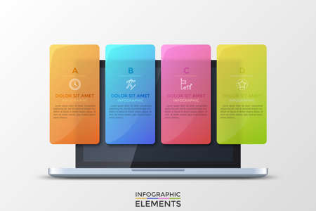 Realistic opened laptop and 4 colorful translucent rectangular elements with letters, thin line pictograms and text boxes inside. Concept of four features of provided service. Vector illustration. Stock Photo