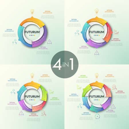 Collection of round pie charts divided into colorful sectors with arrows pointing at thin line icons and text boxes. Futuristic infographic design templates. Vector illustration for presentation.