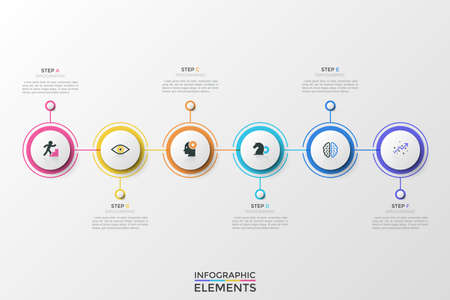 Six multicolored round elements with pictograms inside organized into horizontal row and connected by colorful line. Unique infographic design template. Vector illustration for brochure, presentation.