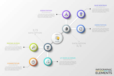 Diagonal flowchart with 8 connected round elements with linear icons inside, main circle in center and text boxes. Creative infographic design template. Vector illustration for brochure, presentation.