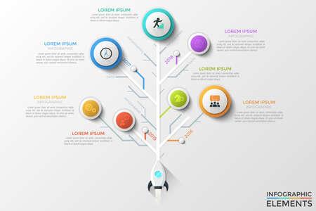 Diagrama de árbol o línea de tiempo vertical con cohete espacial, elementos redondos con iconos lineales, indicación de año y cuadros de texto. Concepto de pasos anuales del desarrollo del proyecto de inicio. Ilustración de vector.