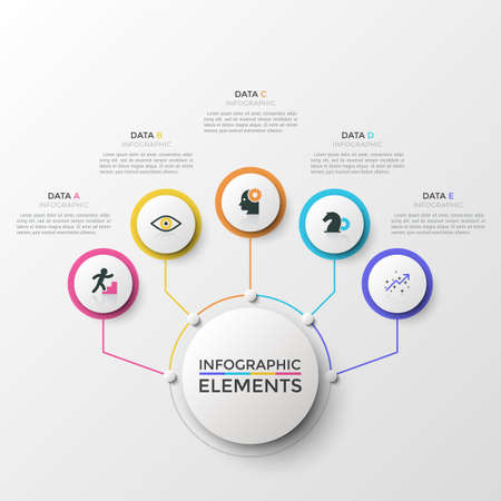 Five colorful round elements with thin line icons connected to main circle. Concept of 5 features or advantages of companys services. Creative infographic design template. Modern vector illustration.