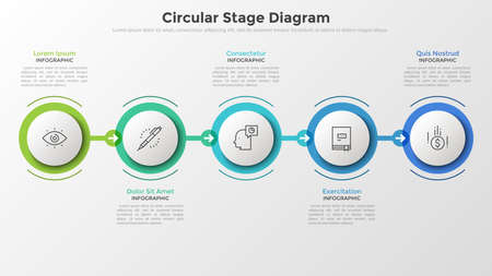Five paper white round elements in colorful frames arranged into horizontal row and connected by arrows. Concept of 5 stages of successive development. Infographic design layout. Vector illustration.