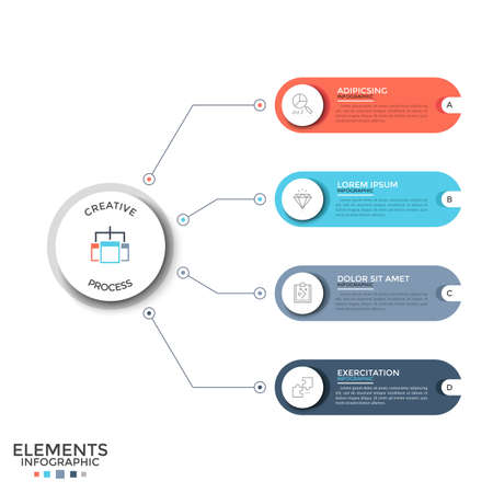 Four colorful rounded elements with linear signs and place for text inside connected by lines to paper white circle. Concept of 4 features of project. Infographic design layout. Vector illustration.