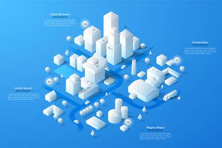 Moderne isometrische oder 3D-Standortkarte mit papierweißen Wohn- und Industriegebäuden, Wahrzeichen der Stadt, Straßen und Platz für Text oder Beschreibung. Saubere Infografik-Design-Vorlage. Vektor-Illustration. Vektorgrafik