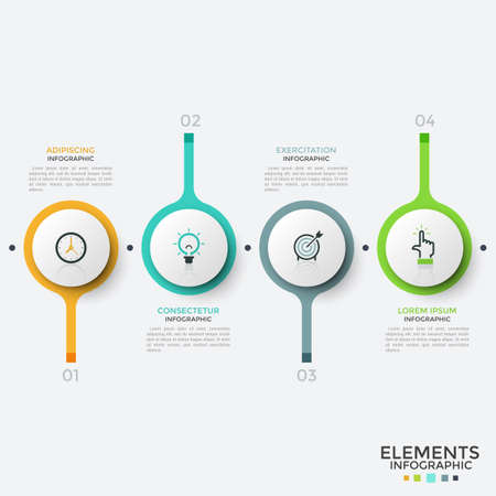 Four numbered circular elements with thin line symbols inside arranged into horizontal row. Concept of 4 steps of business development. Unique infographic design template. Vector illustration.