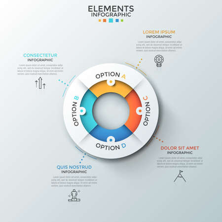 Circular pie chart divided into 4 colorful pieces, thin line symbols and text boxes. Concept of four characteristics of business process. Creative infographic design layout. Vector illustration. Vector Illustratie